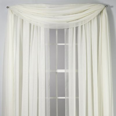 Voile Sheer 6-Yard Window Scarf in Ivory