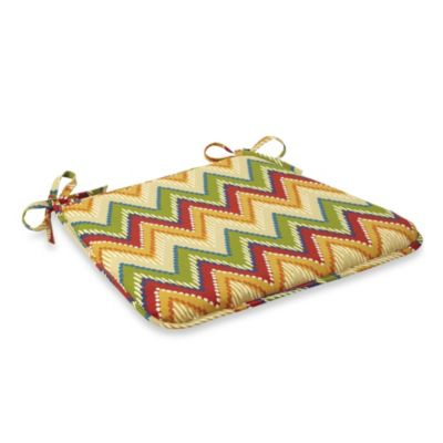 Bistro Chair Cushion with Ties in Zig Zag