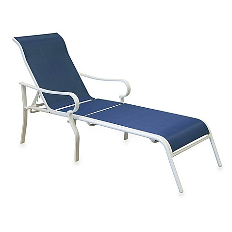 Hawthorne Oversized Adjustable Sling Chaise Lounge in Blue ...
