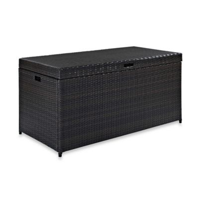 Crosley Palm Harbor Outdoor Wicker Storage Bin in Brown