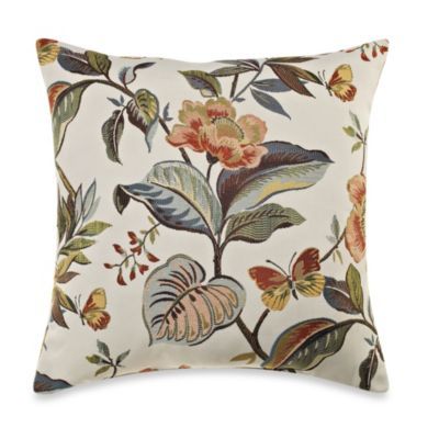Guana Floral Square Throw Pillow in Rust