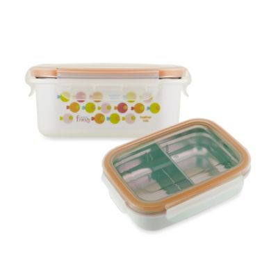 Innobaby 11 oz. Double-Lined Stainless Bento Snack Box with Divider in Orange