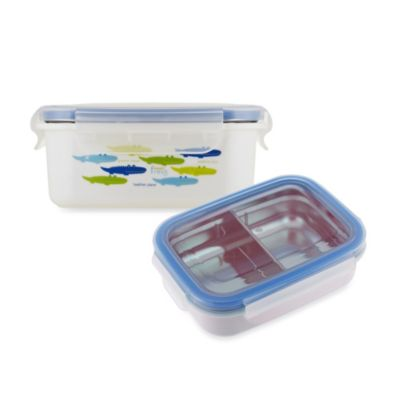 Innobaby 11 oz. Double-Lined Stainless Bento Snack Box with Divider in Blue