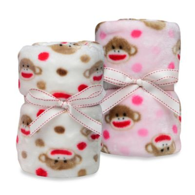 Baby Starters® Sock Monkey Printed Blanket in Pink