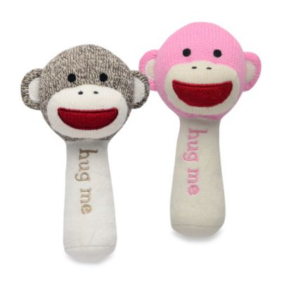 Baby Starters® Sock Monkey Plush Rattle with Mirror in Tan