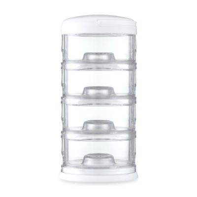 Packin' SMART® by Innobaby 4-Tier Stackable Formula Dispenser and Snack Case in White