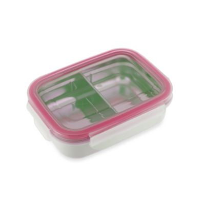 Innobaby 11-Ounce Double-Lined Stainless Bento Snack Box with Divider in Pink