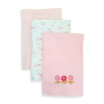 Flowers 3-Pack Burp Cloths