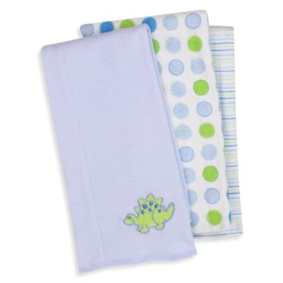 SpaSilk® Dinosaur 3-Pack Burp Cloths in Blue