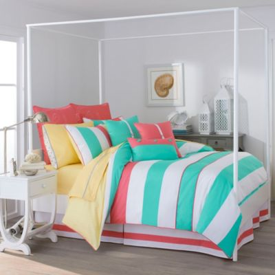 Southern Tide® Cabana Stripe 4-Piece Queen Comforter Set in Off Shore Green