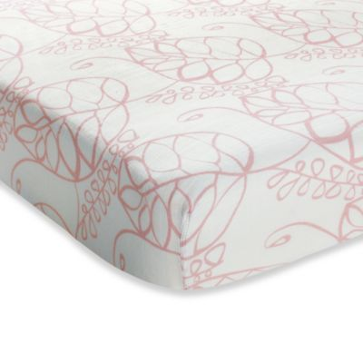 aden + anais® Crib Sheet in Pink Tranquility Leafy