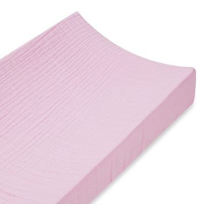 aden + anais® 100% Cotton Muslin Changing Pad Cover in Solid Pink