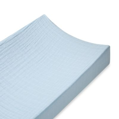 aden + anais® 100% Cotton Muslin Changing Pad Cover in Solid Blue