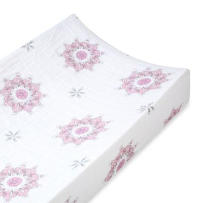 aden + anais® 100% Cotton Muslin Changing Pad Cover in For The Birds Medallion