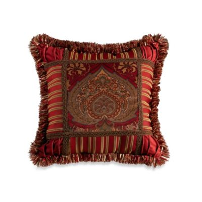 Lorenza Printed Tapestry Velvet 18-Inch Square Fringe Trim Throw Pillow