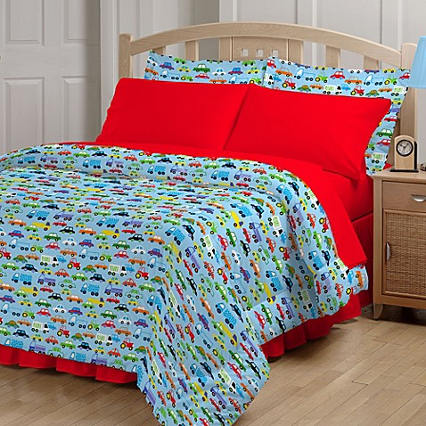 Kids Bedding Sets > Bright Cars 6-8 Piece Comforter and Sheet Set