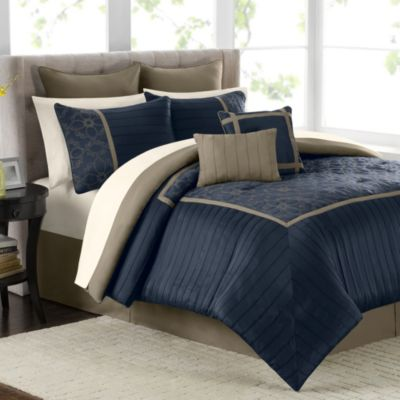 Mira 12-Piece Comforter Set in Navy