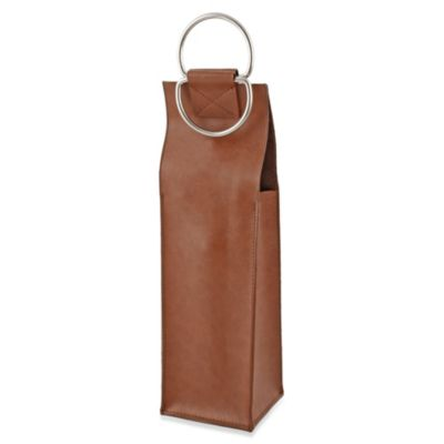 Viski Wine Bag in Brown Faux Leather