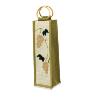 Harvest Jute Wine Tote Bag