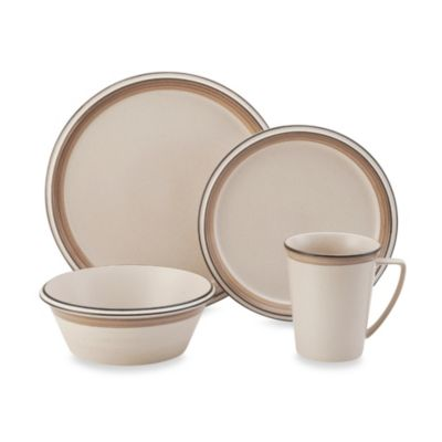 Mikasa® Concord Banded Tan 4-Piece Place Setting