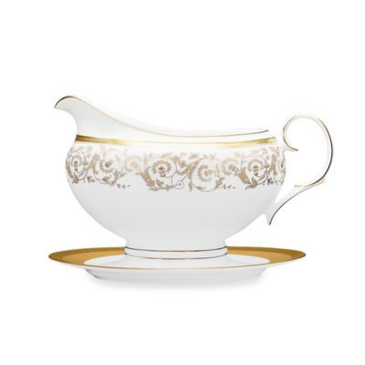 Noritake Summit Gold 16-Ounce Gravy Boat with Tray