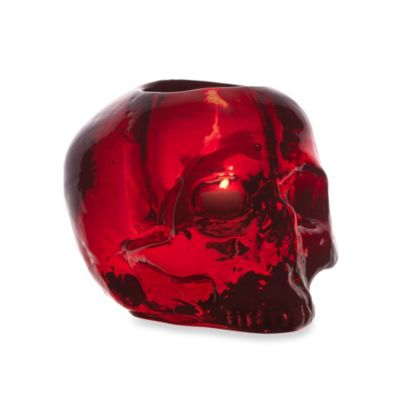 Kosta Boda Still Life Skull Votive Holder in Red