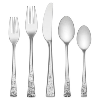 Hammered Steel Flatware Set