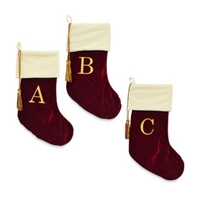 "Harvey Lewis™ Letter ""R"" Monogram Christmas Stocking Made with Swarovski® Elements"