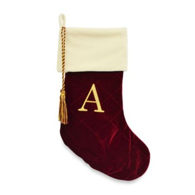 Letter A Monogrammed Christmas Stocking with CRYSTALLIZED™ Swarovski® Elements