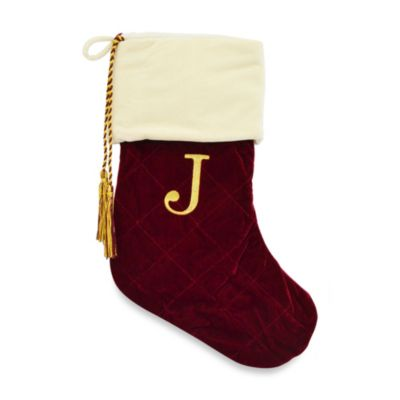 Letter J Monogrammed Christmas Stocking with CRYSTALLIZED™ Swarovski® Elements