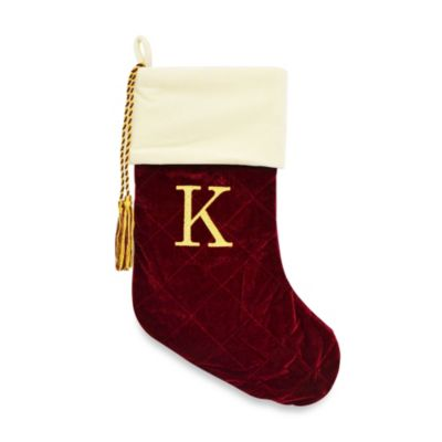 Letter K Monogrammed Christmas Stocking with CRYSTALLIZED™ Swarovski® Elements