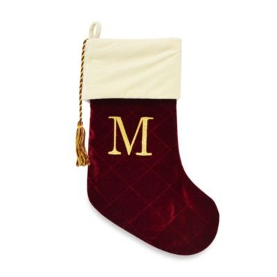 Letter M Monogrammed Christmas Stocking with CRYSTALLIZED™ Swarovski® Elements