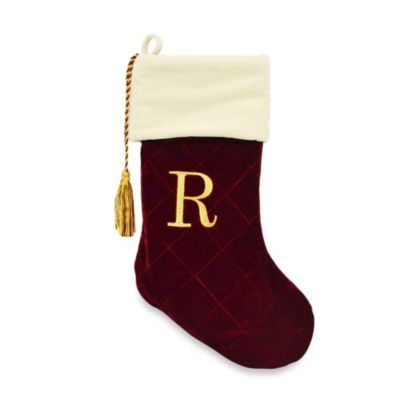 Letter R Monogrammed Christmas Stocking with CRYSTALLIZED™ Swarovski® Elements