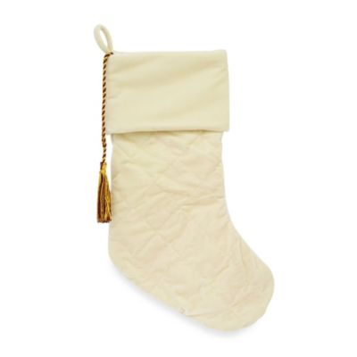Harvey Lewis™ Quilted Velvet Christmas Stocking in Cream