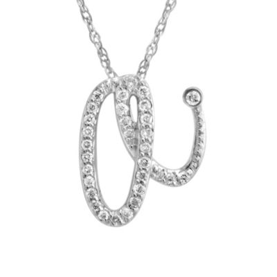 Violet and Sienna 14K White Gold Diamond Initial Pendant Letter A