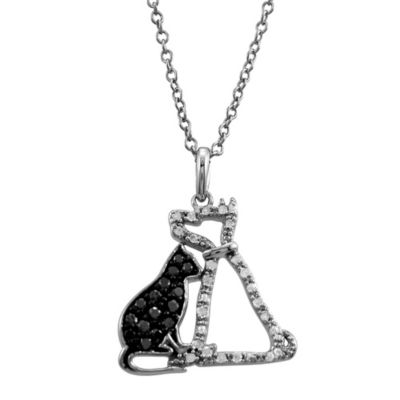 ASPCA® Tender Voices 1/4 cttw Black and White Diamond Cat & Dog Pendant