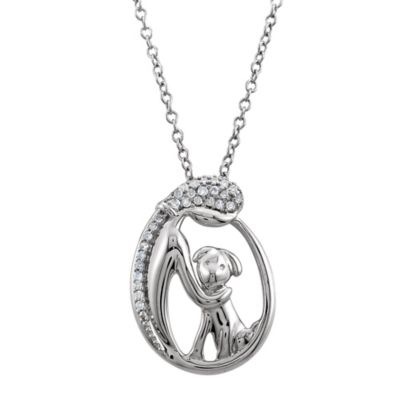 ASPCA® Tender Voices Sterling Silver 1/10 cttw Diamond Woman and Dog Pendant