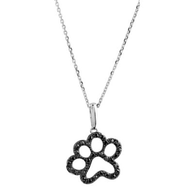 ASPCA® Tender Voices Sterling Silver 1/3 cttw Black Diamond Paw Pendant