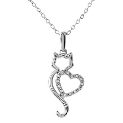 ASPCA® Tender Voices Sterling Silver 0.05 cttw Diamond Cat Silhouette with Heart Pendant