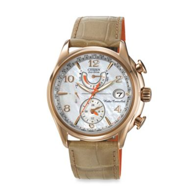 Citizen Ladies' Eco-Drive Rose Gold-Tone Stainless Steel World Time A - T Watch