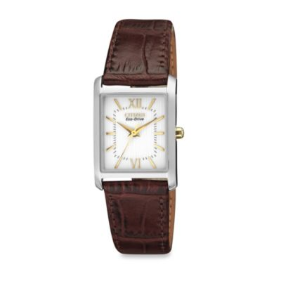 Citizen Ladies' Eco-Drive Stainless Steel Watch with Brown Leather Strap