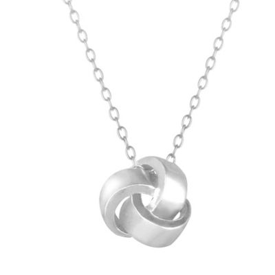 Sterling Silver Love Knot Necklace w/18-Inch Cable Chain