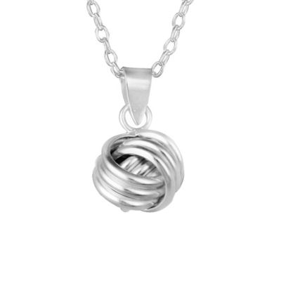 Sterling Silver Traditional Love Knot Pendant w/18-Inch Cable Chain