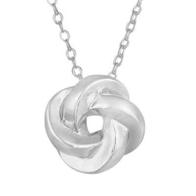 Sterling Silver Polished Love Knot Slide Necklace w/ 18-Inch Cable Chain
