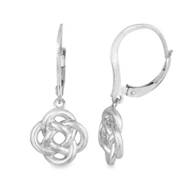 Sterling Silver Modern Love Knot Drop Earrings