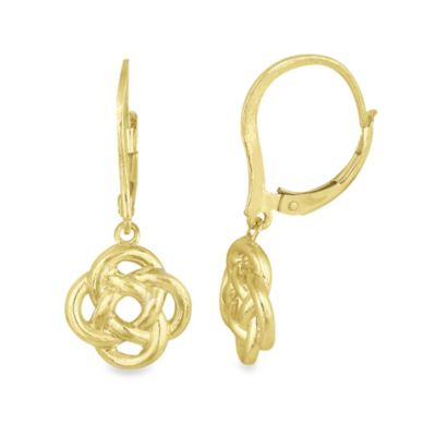 18K Gold Plated over Sterling Silver Modern Love Knot Drop Earrings