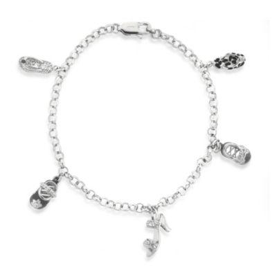 Sterling Silver Cubic Zirconia Shoe Charm Bracelet