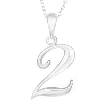 """Sterling Silver Number """"2"""" Pendant with 15-Inch Chain"""