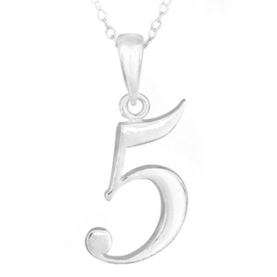 "Sterling Silver Number ""5"" Pendant with 15-Inch Chain"
