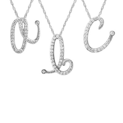 Violet and Sienna 14K White Gold Diamond Initial Pendant Letter D